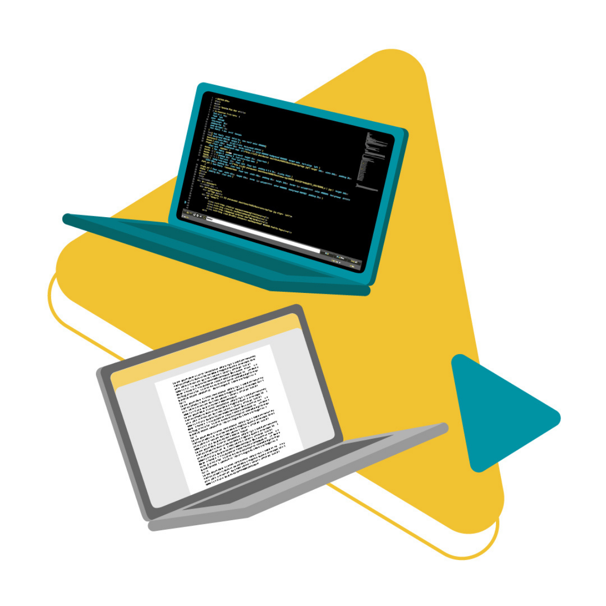 2 laptops, one with HTML code and another with writing document - Etymon